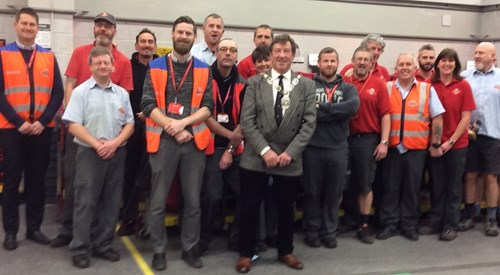 Councillor Bill Glover with Richmond's Post Office employees