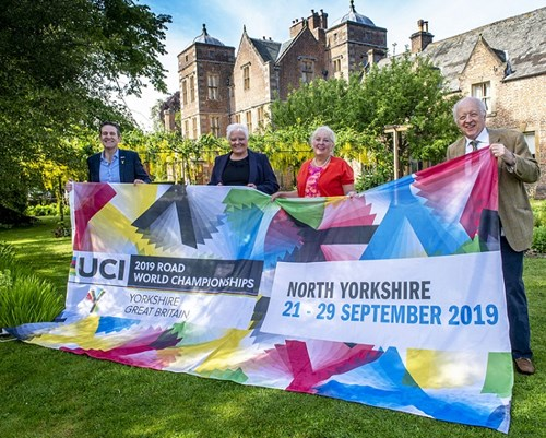 Ceremonial handing over of UCI Road World Championships flags at Kiplin Hall
