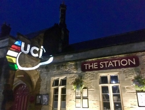 The Station, Richmond, lit up with the UCI logo