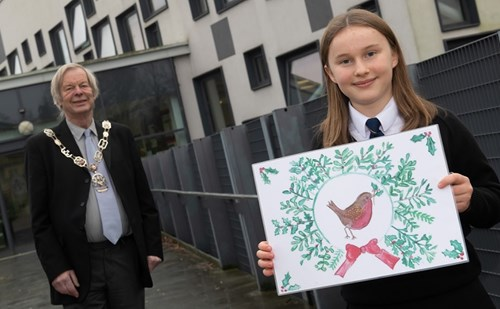 Richmond schoolgirl designs council Christmas card