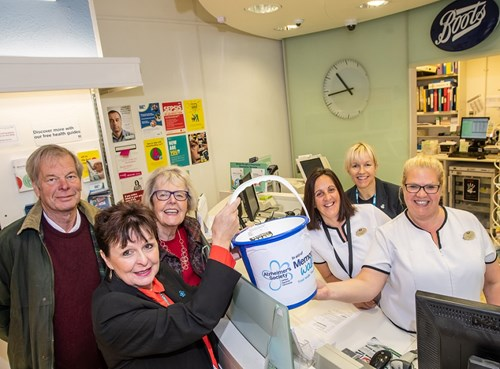 Councillor Clive World, with Gill Cree (Alzheimer's Society), Deidre Edgar (The Bridge), Angela Venni, Kay Jackson and Debs Peverell (Boots)