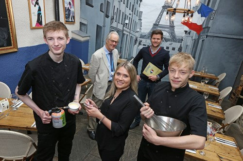 Pictured are: Cllr Ian Threlfall and Tom Park  with apprentices (from left to right) Jake Bennett, Sarah Bradley and Connor McClean.